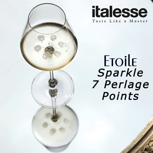 Italesse Etoile Sparkle 7 Perlage Points sparkilng wine glass